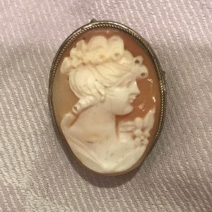 Jewelry - Vintage Sterling Silver Cameo Pendant Brooch Pin